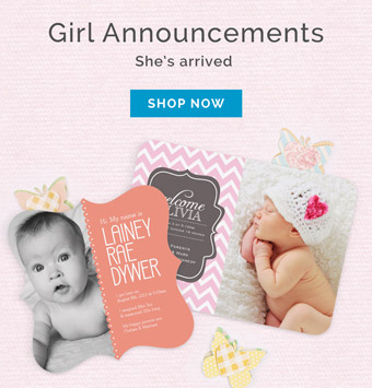 Baby Girl Photo Birth Announcements