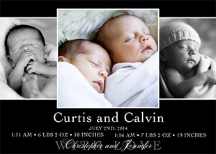 Baby Twins Photo Birth Announcements